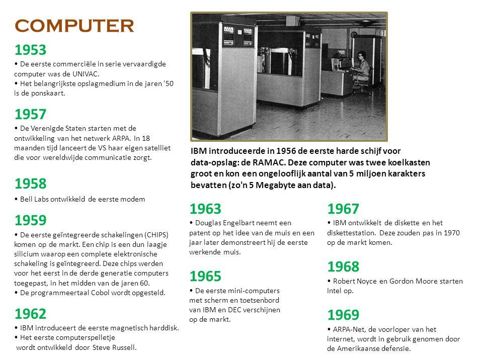 COMPUTER 1953. • De eerste commerciële in serie vervaardigde computer was de UNIVAC.