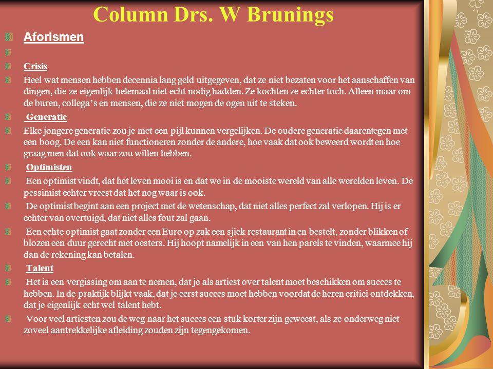 Column Drs. W Brunings Aforismen Crisis
