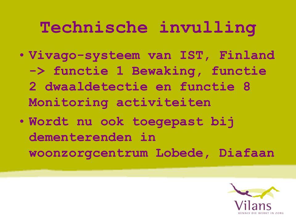 Technische invulling Vivago-systeem van IST, Finland -> functie 1 Bewaking, functie 2 dwaaldetectie en functie 8 Monitoring activiteiten.