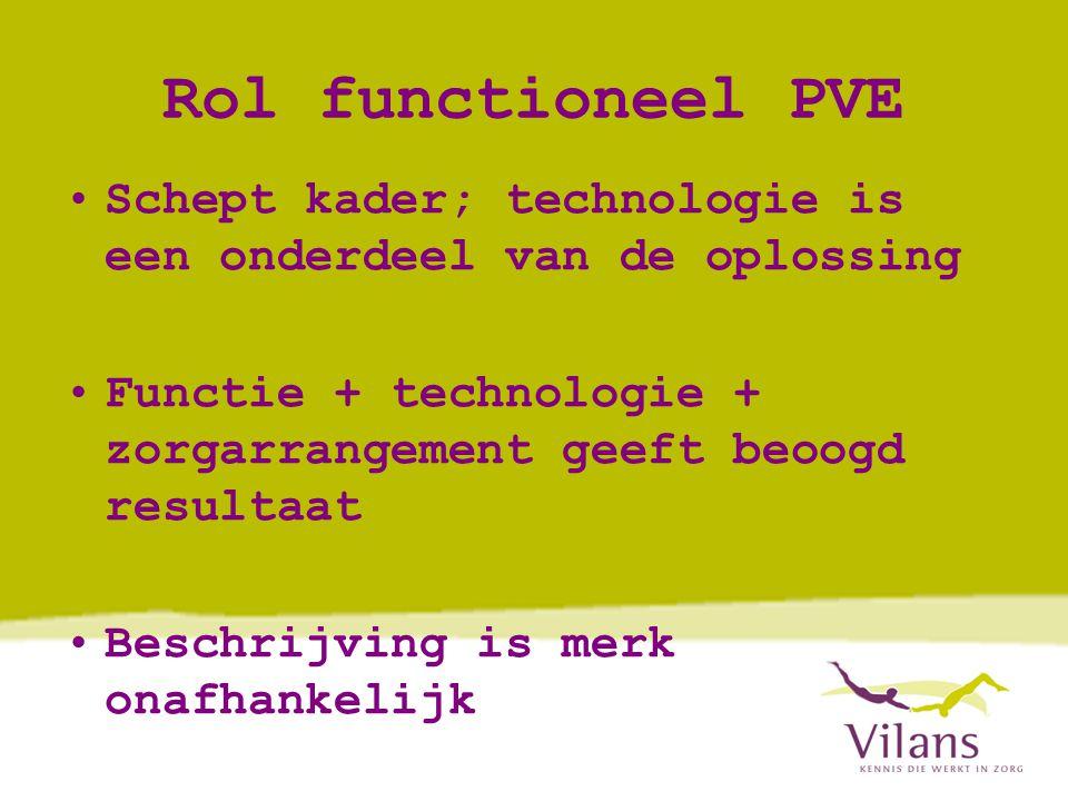 Rol functioneel PVE Schept kader; technologie is een onderdeel van de oplossing. Functie + technologie + zorgarrangement geeft beoogd resultaat.
