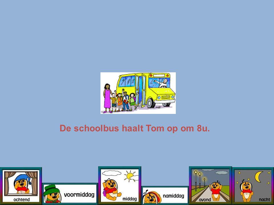 De schoolbus haalt Tom op om 8u.