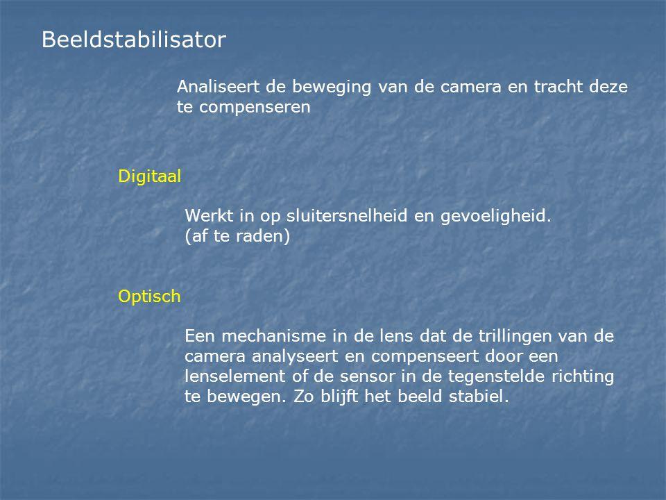 Beeldstabilisator Analiseert de beweging van de camera en tracht deze te compenseren. Digitaal. Werkt in op sluitersnelheid en gevoeligheid.