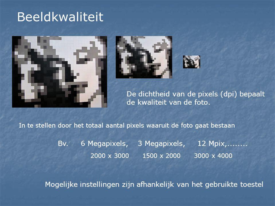Beeldkwaliteit De dichtheid van de pixels (dpi) bepaalt