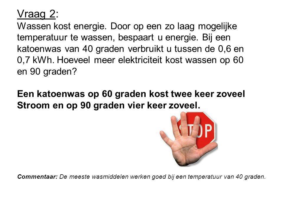 Vraag 2: Wassen kost energie. Door op een zo laag mogelijke