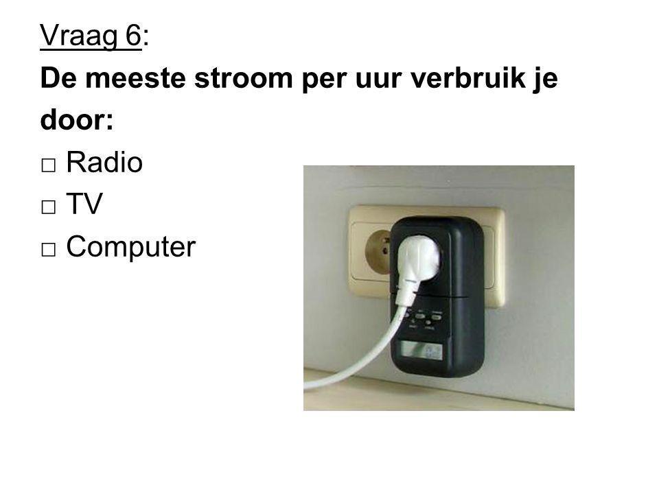 Vraag 6: De meeste stroom per uur verbruik je door: □ Radio □ TV □ Computer