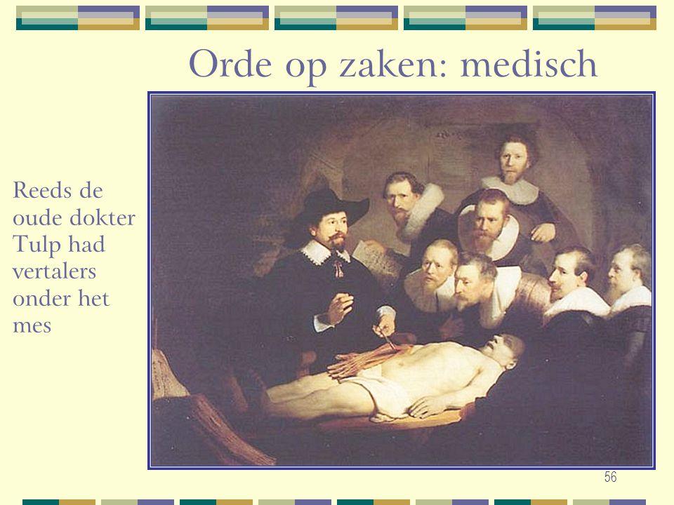 Orde op zaken: medisch Reeds de oude dokter Tulp had vertalers onder het mes