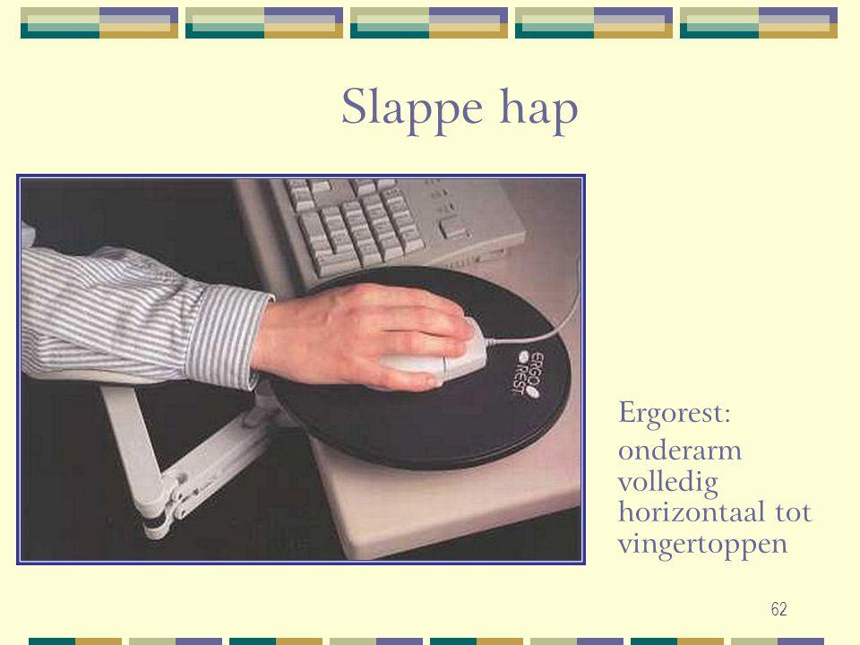 Slappe hap Ergorest: onderarm volledig horizontaal tot vingertoppen