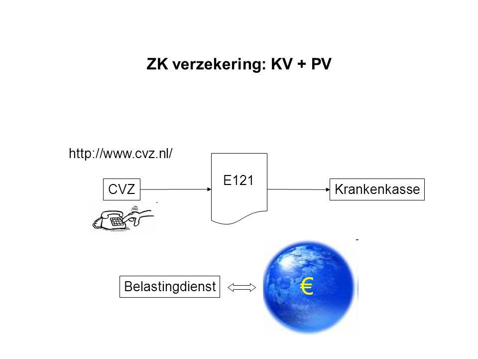 € ZK verzekering: KV + PV http://www.cvz.nl/ E121 CVZ Krankenkasse