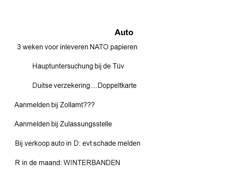 Auto 3 weken voor inleveren NATO papieren Hauptuntersuchung bij de Tüv