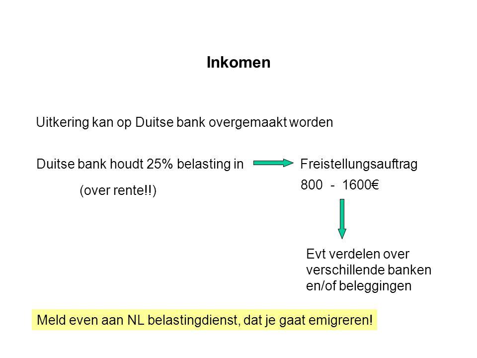 Inkomen Uitkering kan op Duitse bank overgemaakt worden