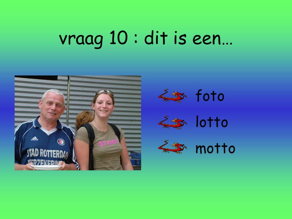 vraag 10 : dit is een… foto lotto motto