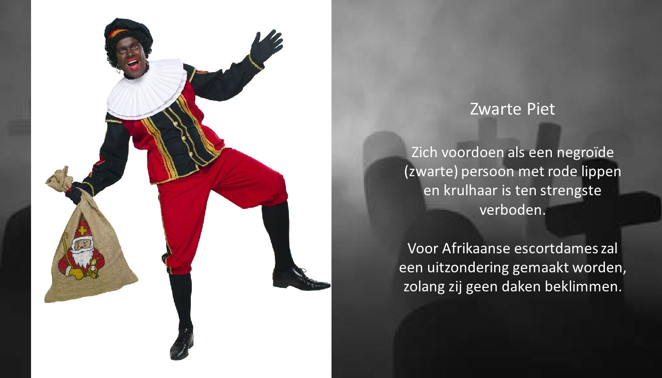Zwarte Piet Zich voordoen als een negroïde (zwarte) persoon met rode lippen en krulhaar is ten strengste verboden.