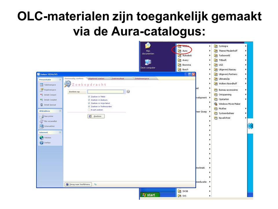 OLC-materialen zijn toegankelijk gemaakt via de Aura-catalogus: