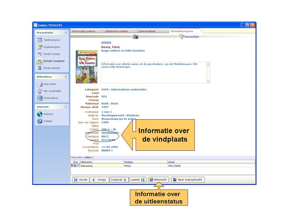 Informatie over de vindplaats Informatie over de uitleenstatus