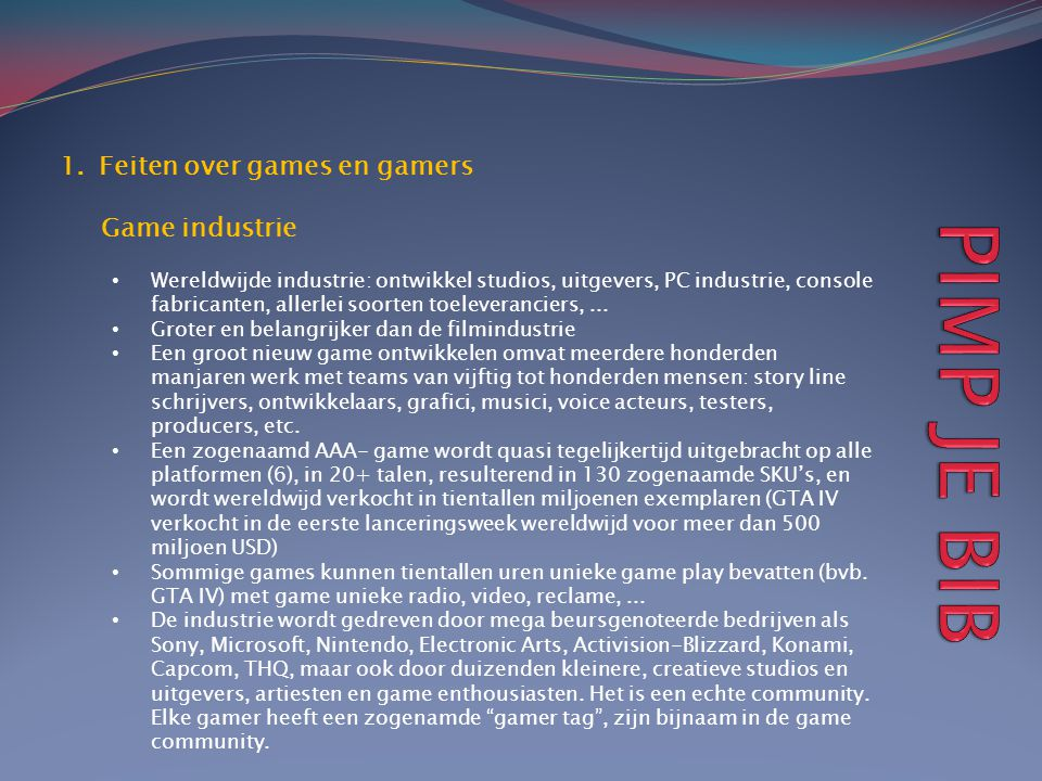 PIMP JE BIB Feiten over games en gamers Game industrie