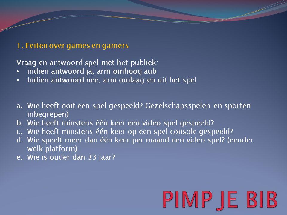 PIMP JE BIB 1. Feiten over games en gamers