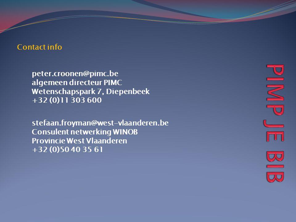 Contact info peter.croonen@pimc.be. algemeen directeur PIMC. Wetenschapspark 7, Diepenbeek. +32 (0)11 303 600.