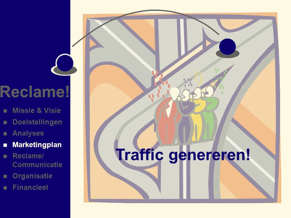 Reclame! Traffic genereren! Missie & Visie Doelstellingen Analyses