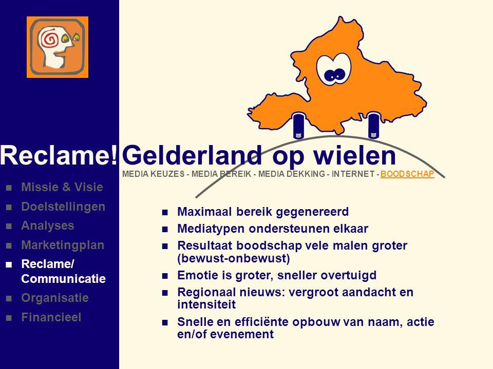 Reclame! Gelderland op wielen Missie & Visie Doelstellingen Analyses