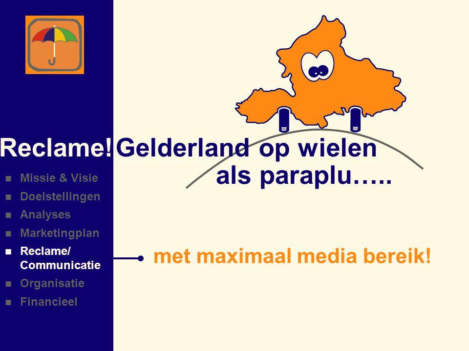 Reclame! Gelderland op wielen als paraplu…..