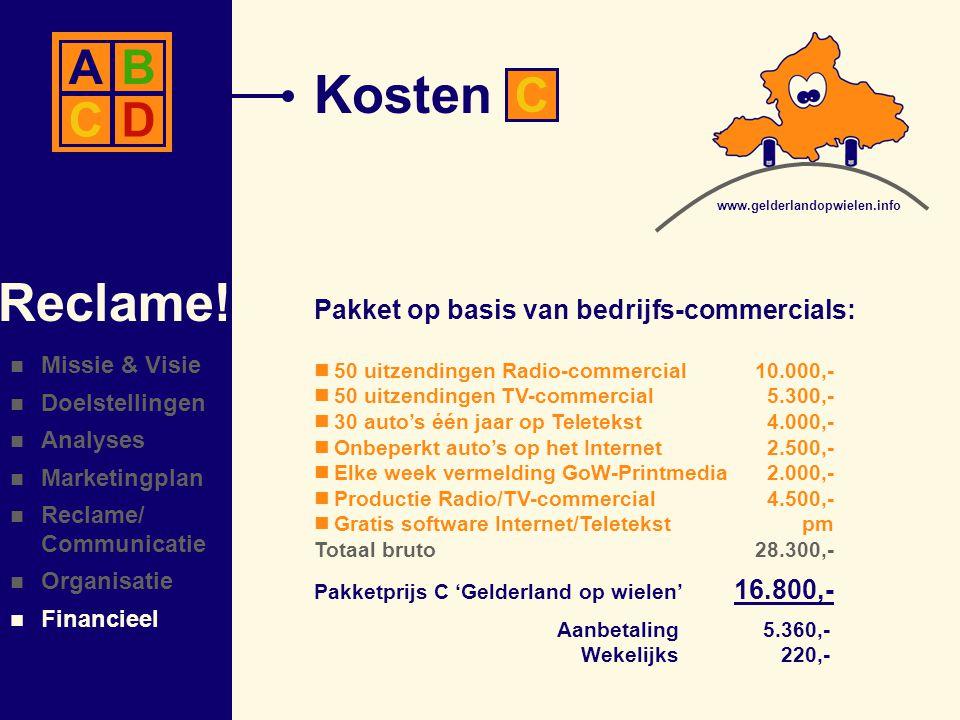 Kosten Reclame! A B C D C Pakket op basis van bedrijfs-commercials: