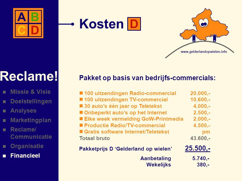 Kosten Reclame! A B C D D Pakket op basis van bedrijfs-commercials: