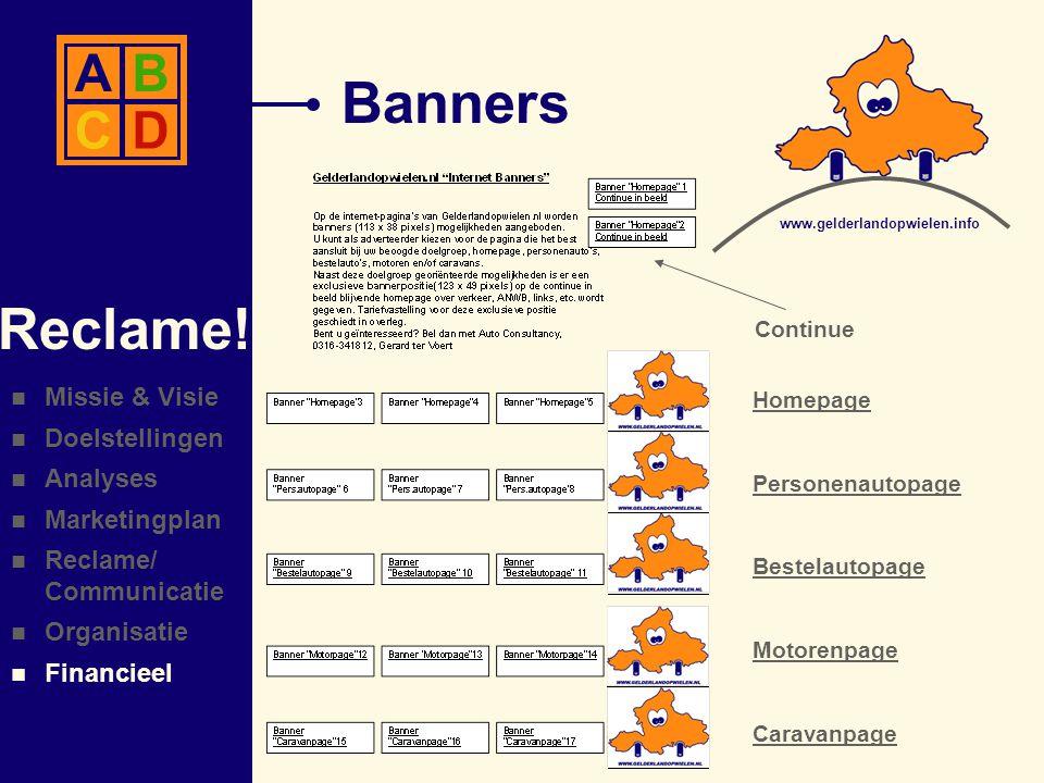 Banners Reclame! A B C D Missie & Visie Doelstellingen Analyses