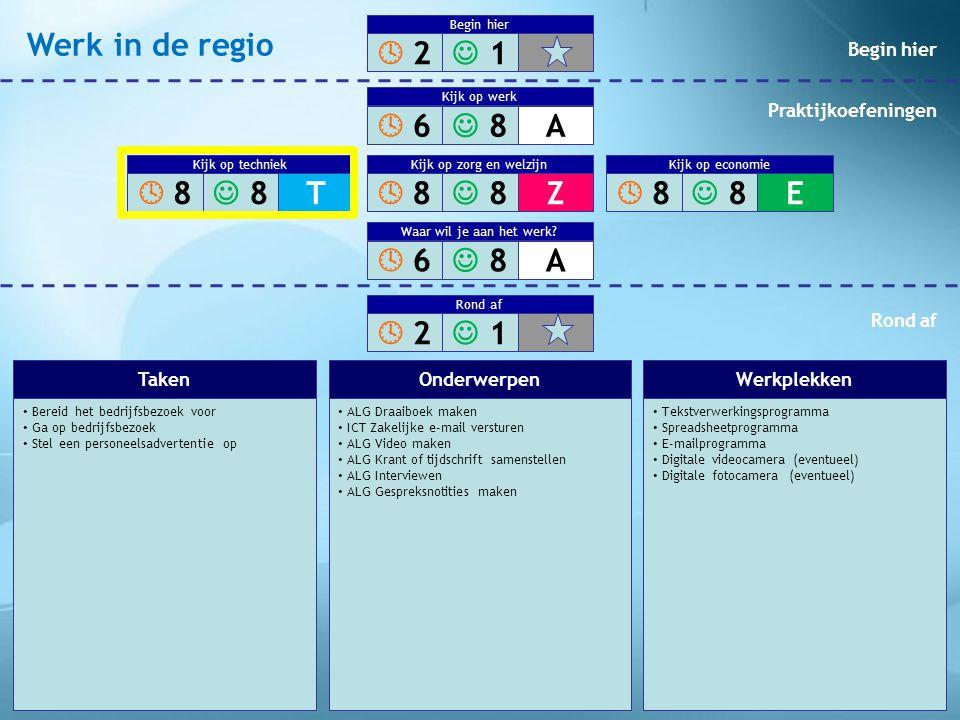 Werk in de regio  2  1  6  8 A  8  8 T  8  8 Z  8  8 E  6