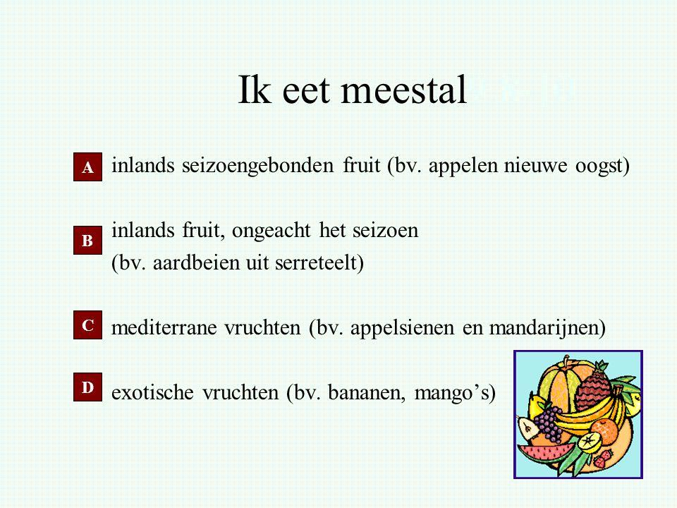 Ik eet meestal9.8-10 inlands seizoengebonden fruit (bv. appelen nieuwe oogst) inlands fruit, ongeacht het seizoen.