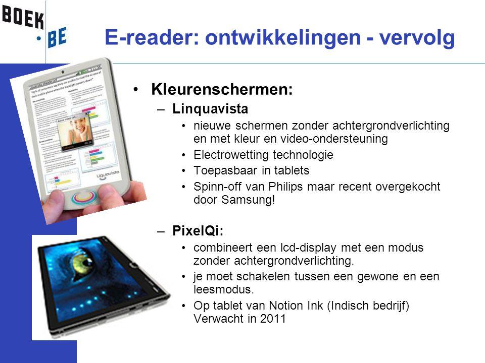 E-reader: ontwikkelingen - vervolg