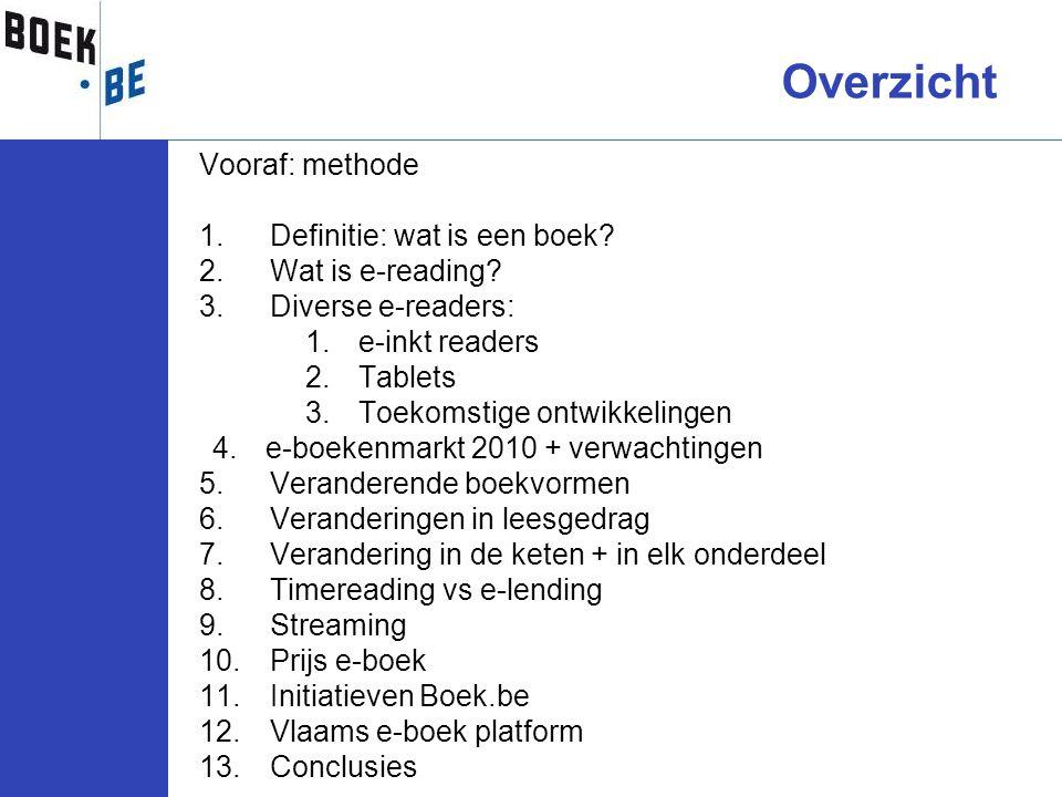 Overzicht Vooraf: methode Definitie: wat is een boek