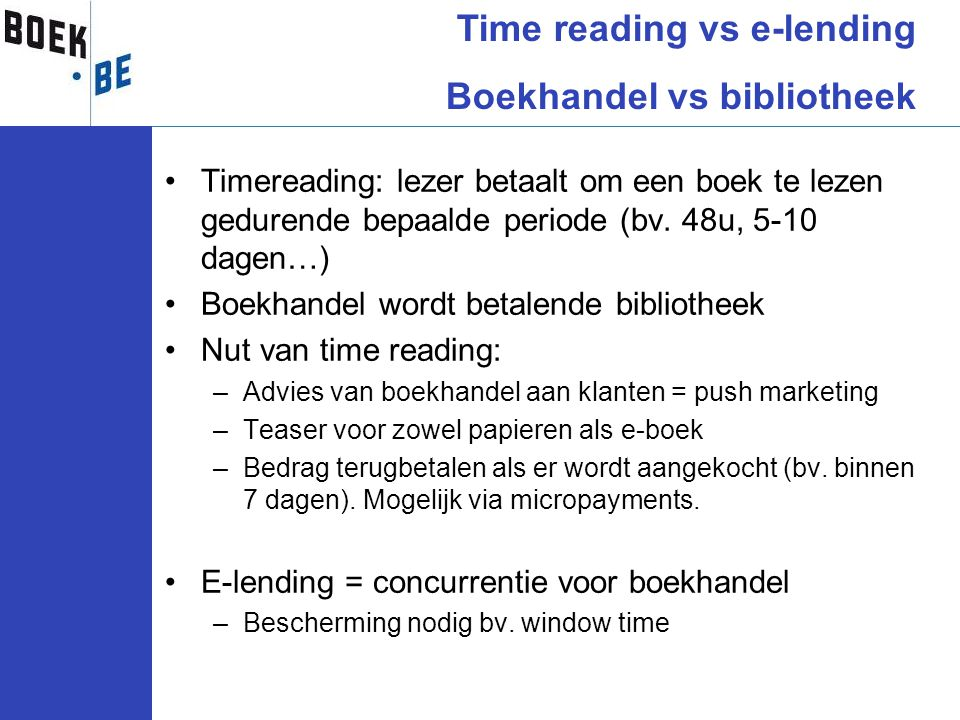 Time reading vs e-lending Boekhandel vs bibliotheek