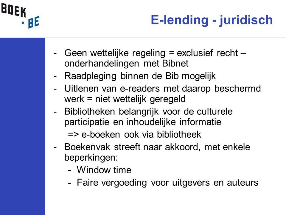 E-lending - juridisch Geen wettelijke regeling = exclusief recht – onderhandelingen met Bibnet. Raadpleging binnen de Bib mogelijk.