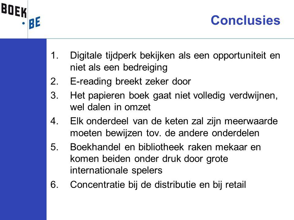 Conclusies Digitale tijdperk bekijken als een opportuniteit en niet als een bedreiging. E-reading breekt zeker door.