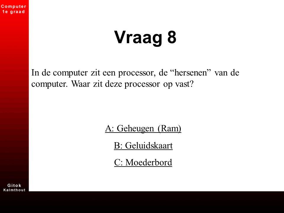 Vraag 8 In de computer zit een processor, de hersenen van de computer. Waar zit deze processor op vast
