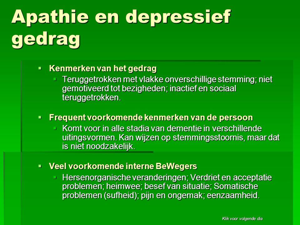 Apathie en depressief gedrag