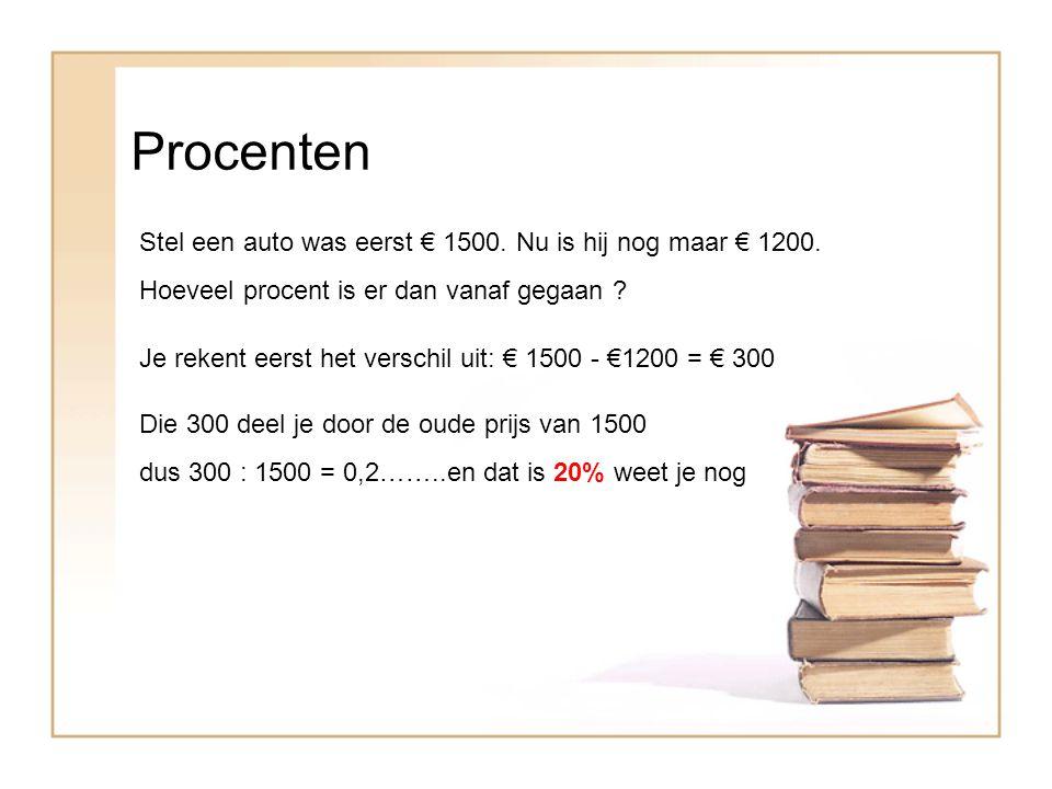 Procenten Stel een auto was eerst € 1500. Nu is hij nog maar € 1200.