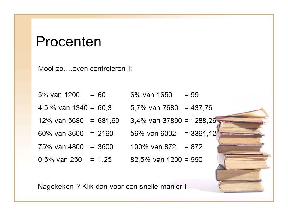 Procenten Mooi zo….even controleren !: