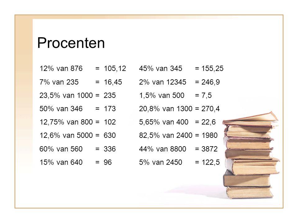 Procenten 12% van 876 = 105,12 45% van 345 = 155,25. 7% van 235 = 16,45 2% van 12345 = 246,9.