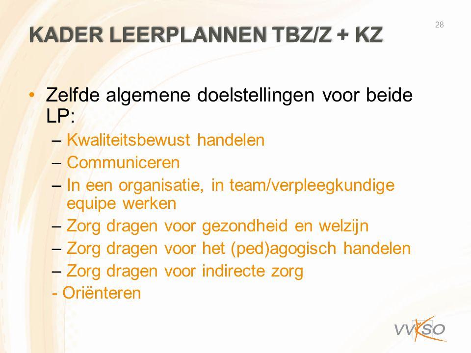 Kader Leerplannen TBZ/z + KZ