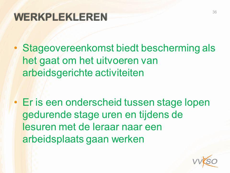 Werkplekleren Stageovereenkomst biedt bescherming als het gaat om het uitvoeren van arbeidsgerichte activiteiten.