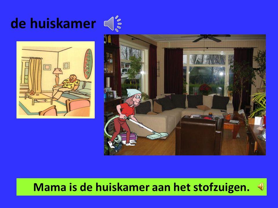 Mama is de huiskamer aan het stofzuigen.