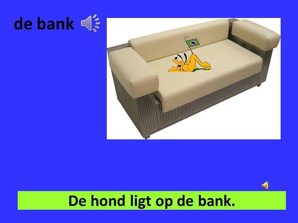 de bank De hond ligt op de bank.