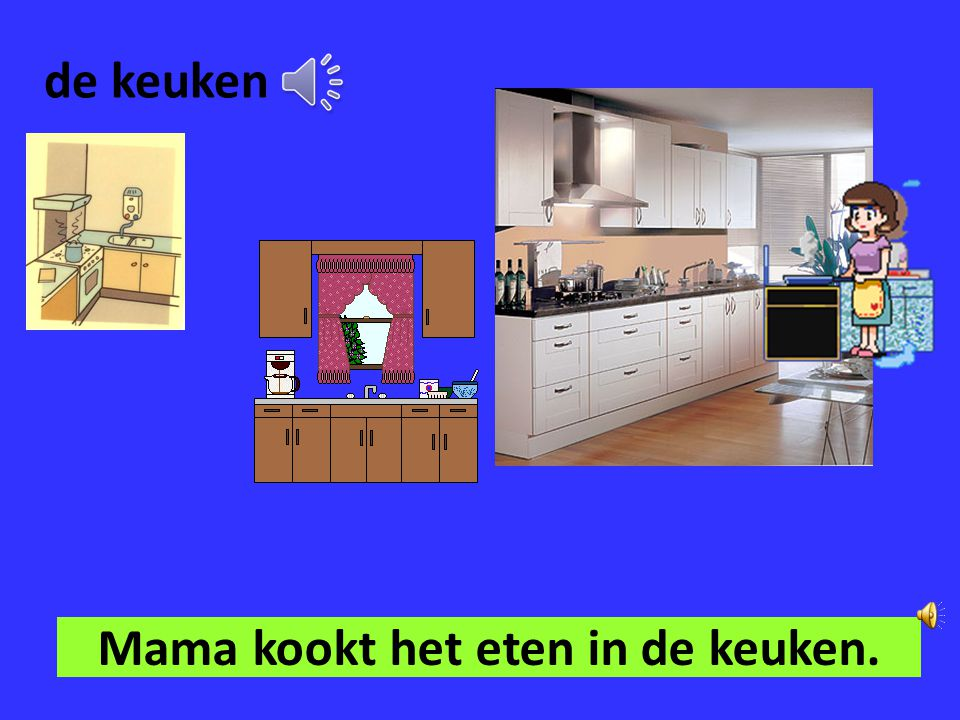Mama kookt het eten in de keuken.