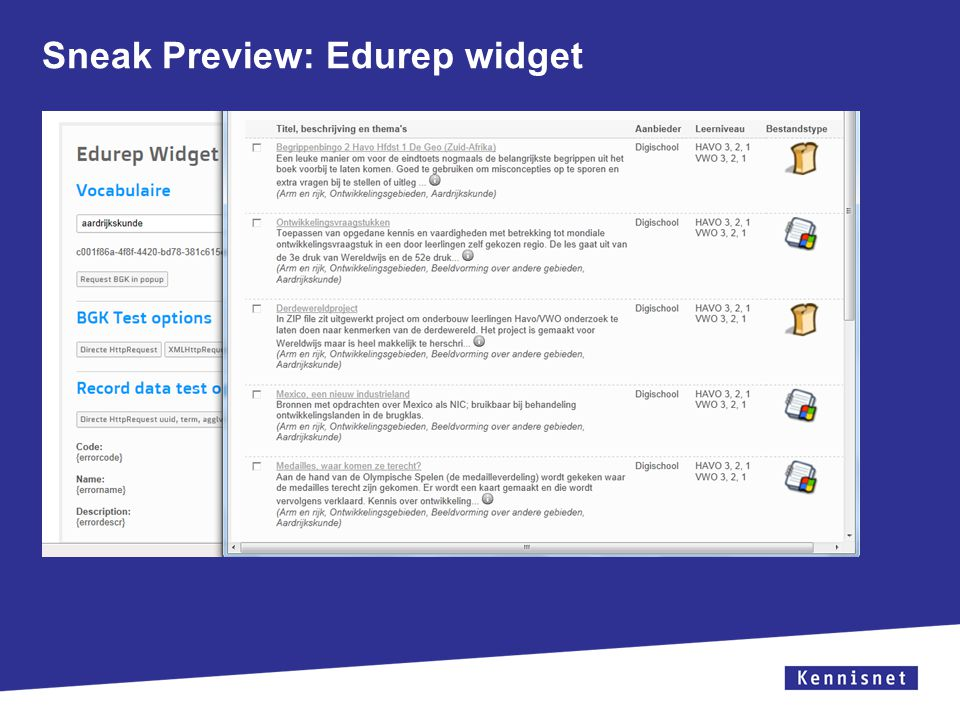Sneak Preview: Edurep widget