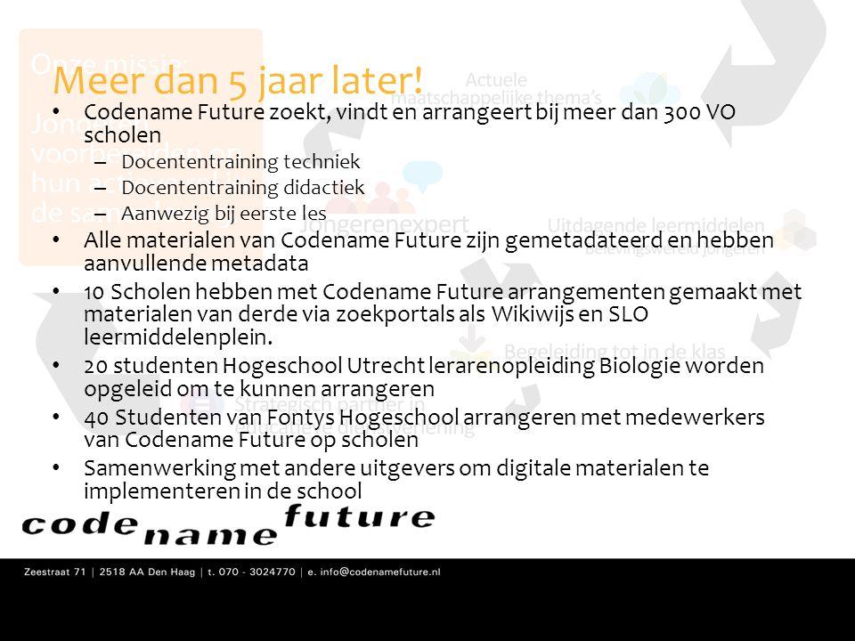Meer dan 5 jaar later! Codename Future zoekt, vindt en arrangeert bij meer dan 300 VO scholen. Docententraining techniek.