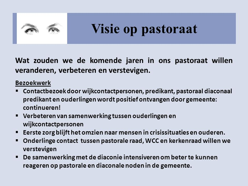 Visie op pastoraat Wat zouden we de komende jaren in ons pastoraat willen veranderen, verbeteren en verstevigen.