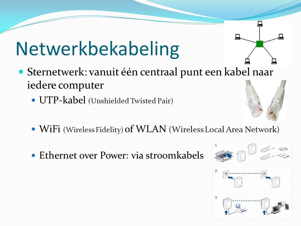 Netwerkbekabeling Sternetwerk: vanuit één centraal punt een kabel naar iedere computer. UTP-kabel (Unshielded Twisted Pair)