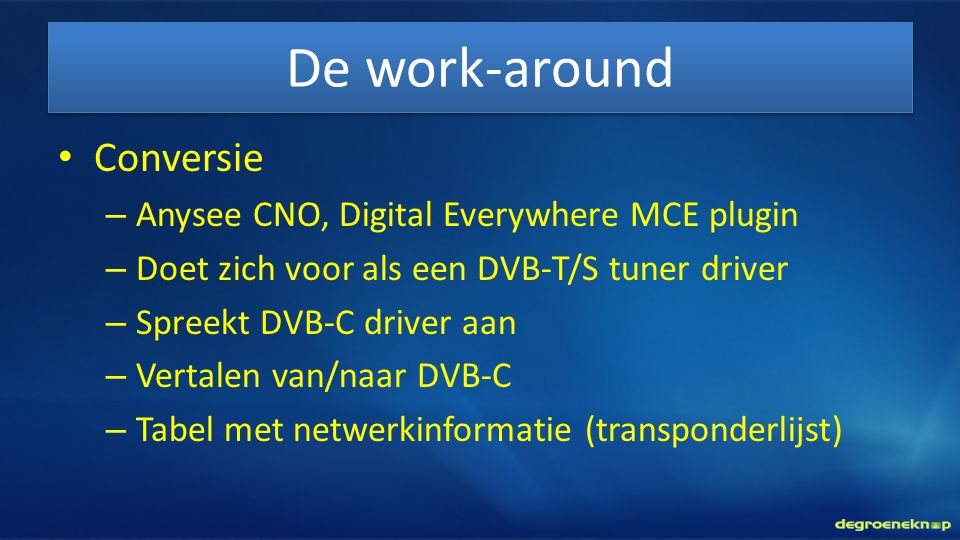 De work-around Conversie Anysee CNO, Digital Everywhere MCE plugin