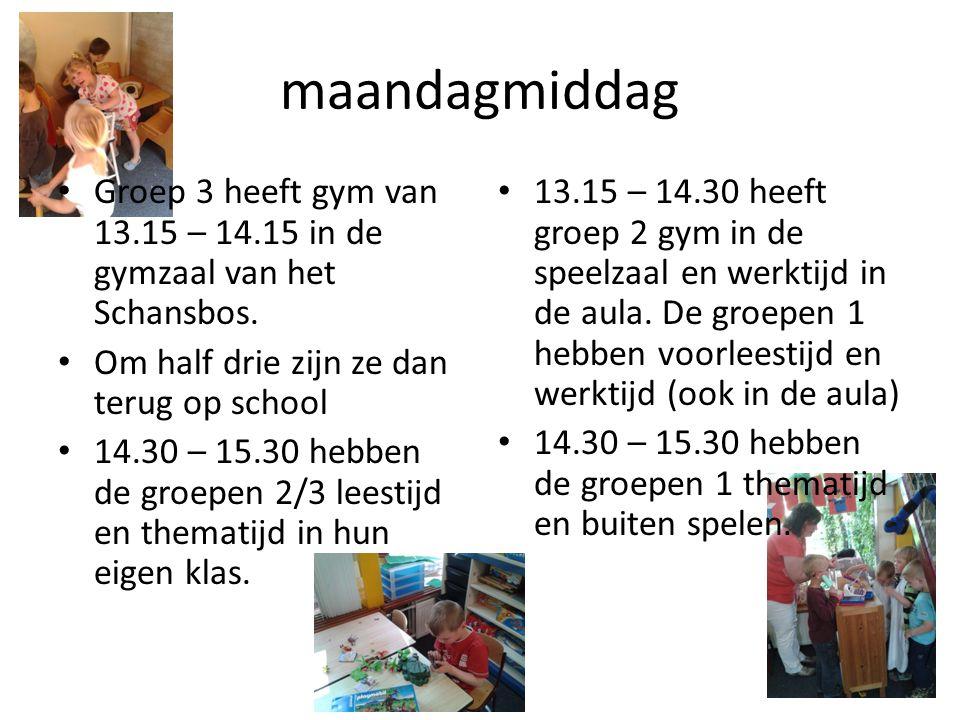 maandagmiddag Groep 3 heeft gym van 13.15 – 14.15 in de gymzaal van het Schansbos. Om half drie zijn ze dan terug op school.